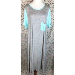 Lularoe Carly Tee Shirt Dress Plus Size 2XL Grey